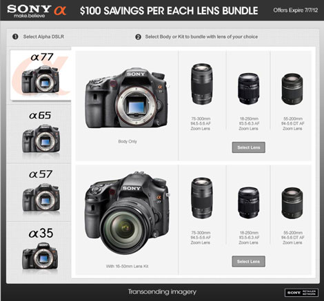 Sony Alpha Lens Bundle Rebates