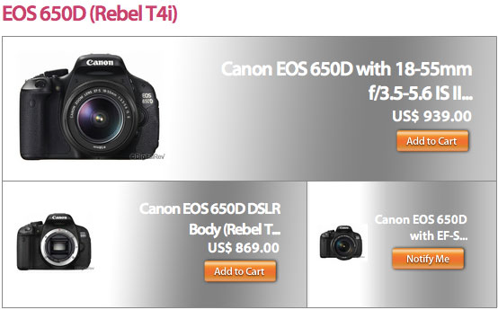 New Canon EOS 650D / Rebel T4i in Stock