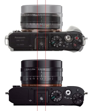 who would have imagined not too long ago that a camera the size of the panasonic gf5 or as shown gx1 equivalent can pack a full frame sensor with
