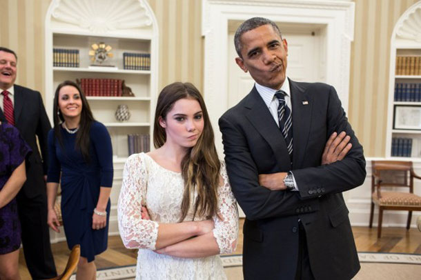Pulling faces: U.S. President Obama and gymnast and Olympic winner McKayla Maroney, both with folded arms and a bored expression. | Pete Souza, White House photographer