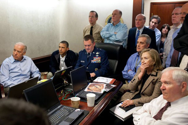 Live stream from Pakistan in the Situation Room: Vice President Joe Biden, Obama, Defense Minister Robert Gates, Foreign Secretary Hillary Clinton and members of the national security team watch the ongoing operation which led to the killing of Osama bin Laden Pete Souza, White House photographer