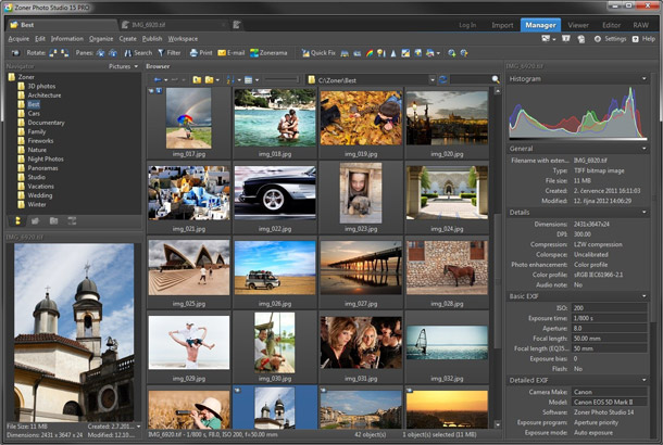 Zoner Photo Studio covers a photographer's complete workflow, from downloading to organizing large collections to editing and publishing.