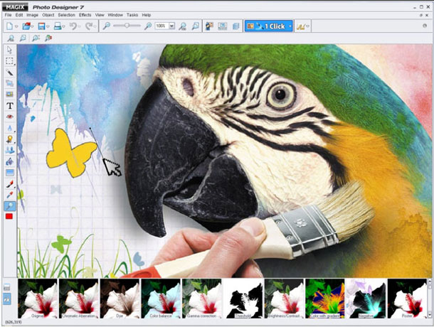 The Magix Photo Designer user interface