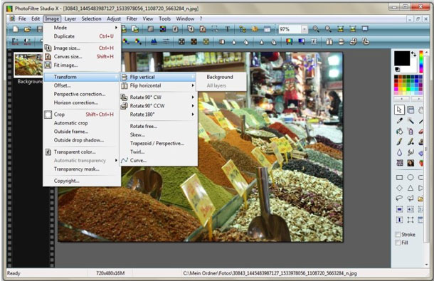 PhotoFiltre Studio X has all you basically need, an excellent Photoshop alternative...