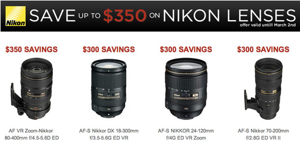 Up to $350 direct savings on Nikon lenses.