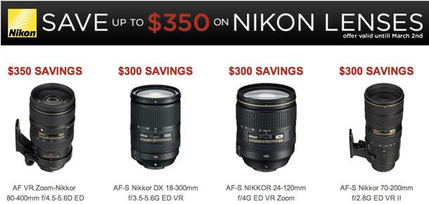 Up to $350 direct savings on Nikon lenses.