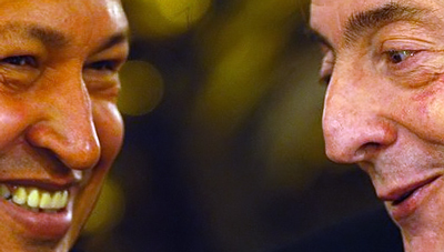 Hugo Chávez and Nestor Kirchner -- friends in life, political tools in death.