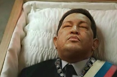 Real or not? Hugo Chávez lying in state -- doesn't look like a man who just lost a long battle against cancer.