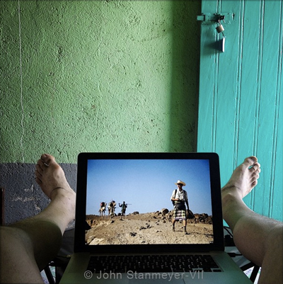 """Editing the other Walking Man, Paul Salopek, while listening to James Taylor's Frozen Man, in my hotel room in Afar, Ethiopia."" 