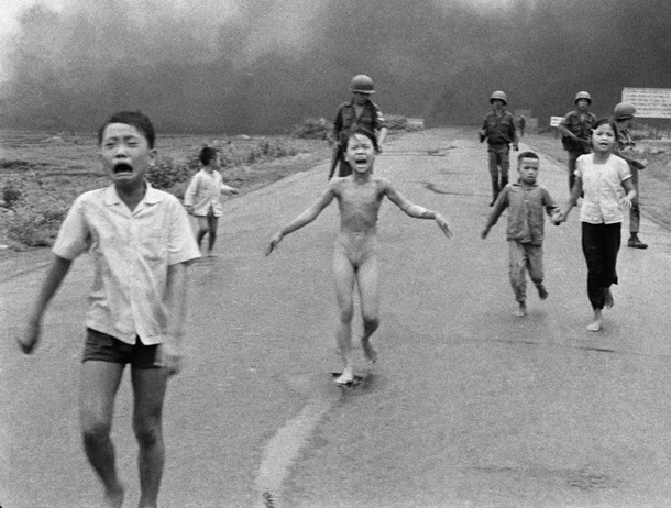 The Icon: On 8 June 1972, the village of Trang Bang near Saigon was hit by an air strike. Kim Phúc, nine years old at the time, was photographed fleeing naked and burned. This image of her went around the world and was promptly adopted as an anti-war symbol. | AP