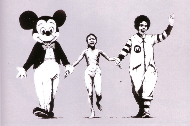 ... or hand in hand with U.S. consumerism icons Mickey Mouse and Ronald McDonald. | Verlag Wallstein
