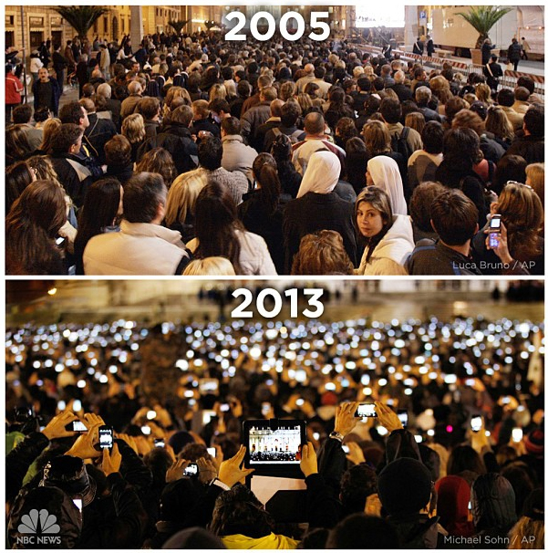 What a difference eight years make. St. Peter's Square in 2005 vs. 2013. | #NBCPope