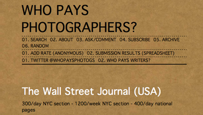How much should you get paid for a photog job? A new Tumblr site may give a pretty clear idea.