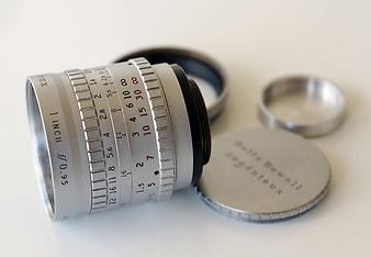 This very compact and beautyful lens, the  P. Angénieux Paris 25mm Type M1 F0.95, was developed in 1953 and at that time the fastest 25mm design. One of the early copies was used by NASA to take the first photographs of the moon from a lunar probe. The Angénieux is said to have a very cinematic look, a nice bokeh when used wide open and sharp look when stopped down. | eBay