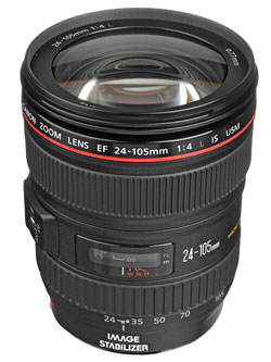 The Canon EF 24-105mm F4 IS USM standard zoom.