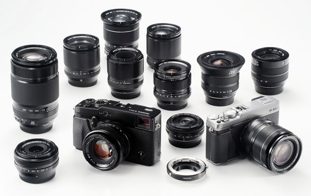 The X series Fujinon and Carl Zeiss lens lineup in all its splendor.