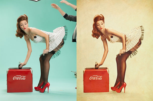 Before and after Pinup Cola -- ever had so much retouching fun?