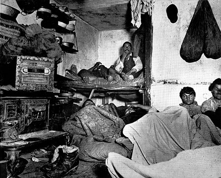 """Five Cents a Spot: Lodgers in a Bayard Street Tenement"" is a famous photography by Jacob Riis."