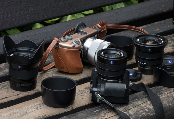The complete Zeiss Touit lineup with the Hasselblad Lunar. | Brad Morris