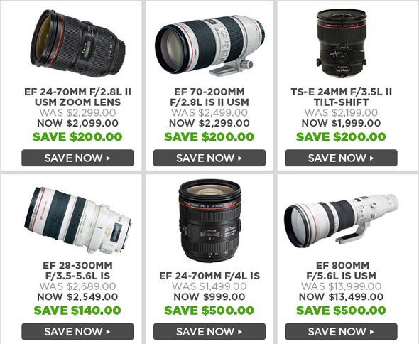 Big Price Reductions on Canon L Lenses