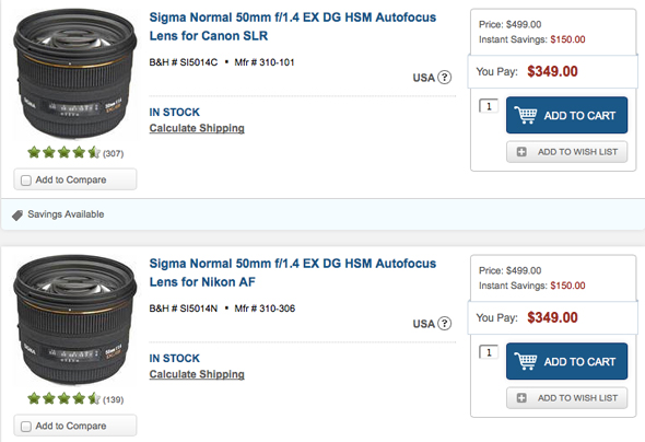 $150 Saving on Sigma 50mm F1.4 EX DG