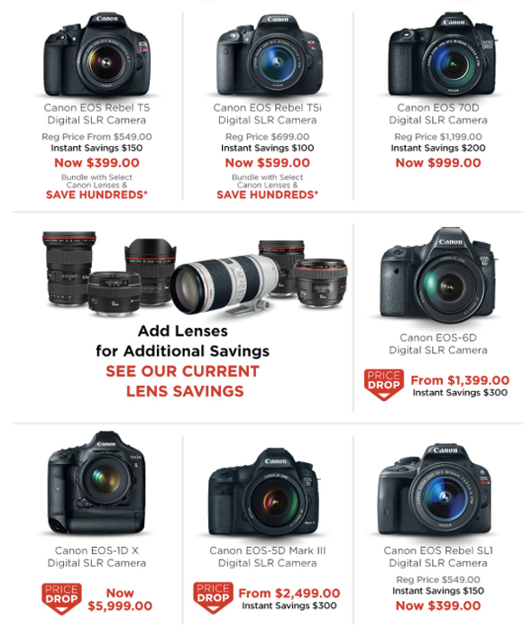 Canon Instant Rebates on DSLRs, Lenses, Speedlites and Lighting Equipment